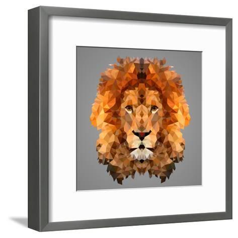 Lion Low Poly Portrait-kakmyc-Framed Art Print