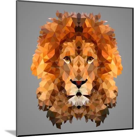 Lion Low Poly Portrait-kakmyc-Mounted Art Print