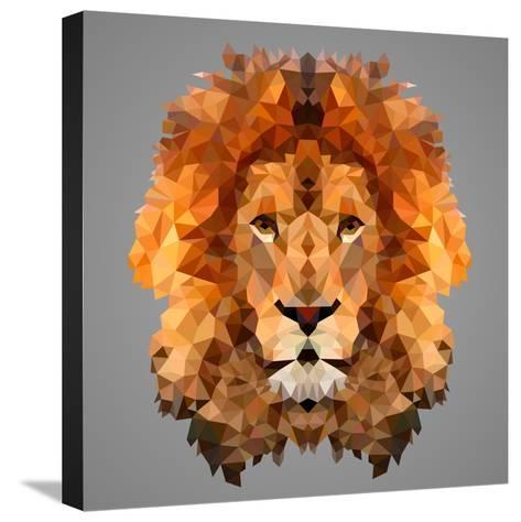 Lion Low Poly Portrait-kakmyc-Stretched Canvas Print