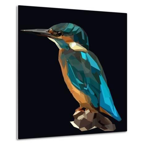 Littel Blue Bird Kingfisher on Dark Background-mid92-Metal Print