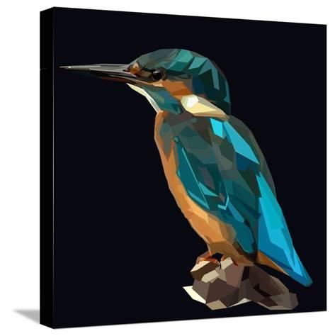Littel Blue Bird Kingfisher on Dark Background-mid92-Stretched Canvas Print