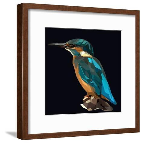 Littel Blue Bird Kingfisher on Dark Background-mid92-Framed Art Print