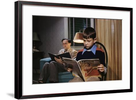 Father and Son Reading at Home-William P^ Gottlieb-Framed Art Print