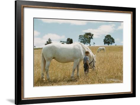 Boy Standing with Horse in a Field-William P^ Gottlieb-Framed Art Print