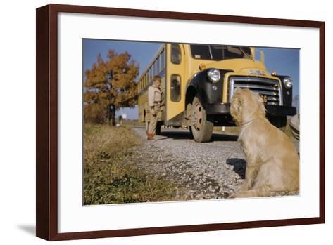 Faithful Dog Watching Boy Enter School Bus-William P^ Gottlieb-Framed Art Print
