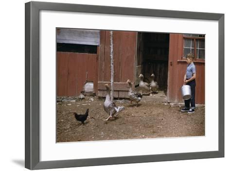 Boy Watching Geese Leave Barn-William P^ Gottlieb-Framed Art Print