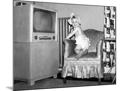 Baby Girl Wants to Watch Television, Ca. 1954--Mounted Photographic Print