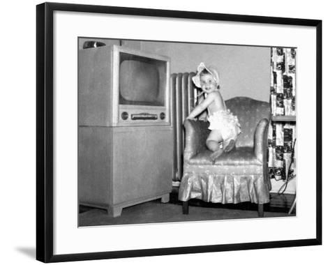 Baby Girl Wants to Watch Television, Ca. 1954--Framed Art Print