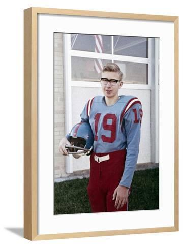 Fifteen Year Old High School Football Player Portrait Outside the School, Ca. 1961--Framed Art Print