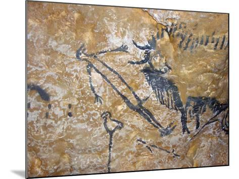 Cave Painting of Bird-Headed Man at Lascaux--Mounted Photographic Print