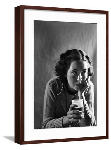 Girl Sipping a Soda-Philip Gendreau-Framed Art Print