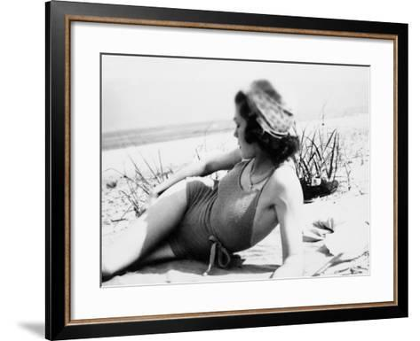 Young Woman at the Beach, Ca. 1938--Framed Art Print