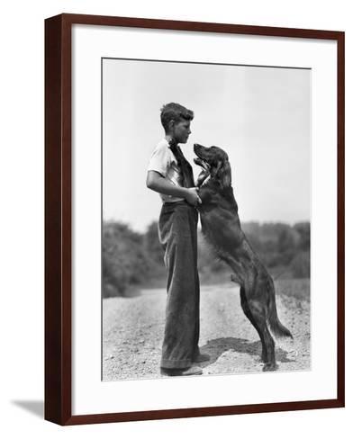 Teenage Boy with Irish Setter-Philip Gendreau-Framed Art Print