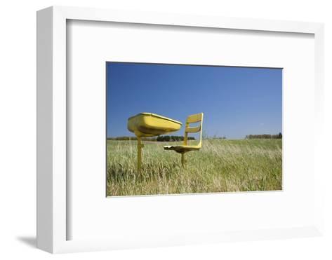 School Desk in Field, Michigan-Paul Souders-Framed Art Print