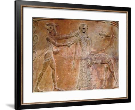 Detail of Cycladic Terracotta Relief of Perseus Killing Medusa--Framed Art Print