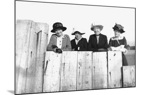 Four Adult Sisters Pose Along a Fence, Ca. 1910--Mounted Photographic Print