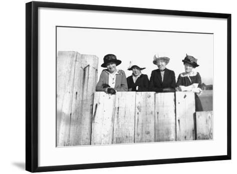 Four Adult Sisters Pose Along a Fence, Ca. 1910--Framed Art Print