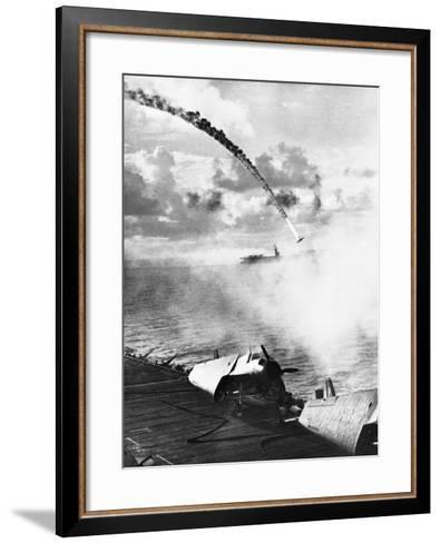 Japanese Plane Crashing in the Pacific--Framed Art Print