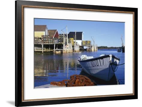 Boat and Fishermen's Wharf in Nova Scotia-Paul Souders-Framed Art Print