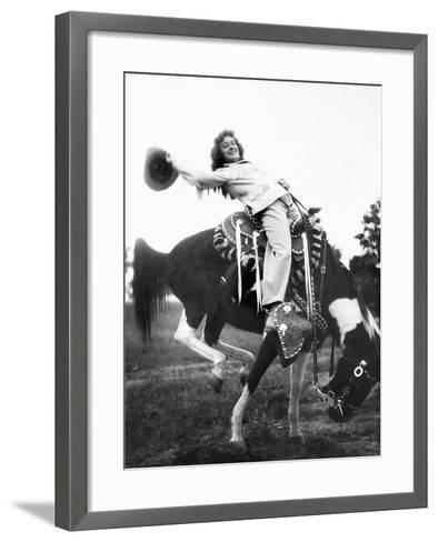 Young Woman on Phony Pony, Ca. 1940--Framed Art Print