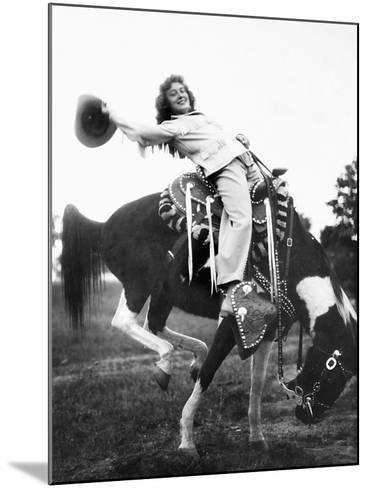 Young Woman on Phony Pony, Ca. 1940--Mounted Photographic Print