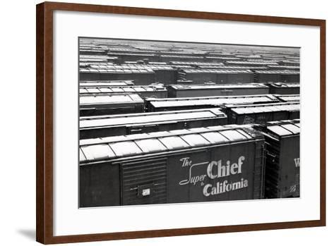 Railroad Boxcars in Rail Yard, Chicago, Illinois, USA, Ca. 1950--Framed Art Print