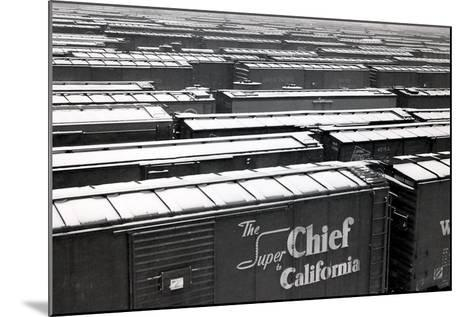 Railroad Boxcars in Rail Yard, Chicago, Illinois, USA, Ca. 1950--Mounted Photographic Print