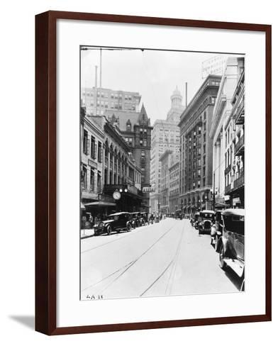 A Downtown Street in New Orleans--Framed Art Print
