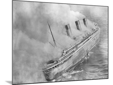 L'Atlantique Aflame Near English Channel--Mounted Photographic Print