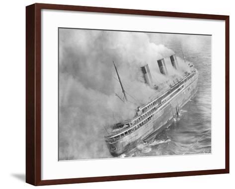 L'Atlantique Aflame Near English Channel--Framed Art Print