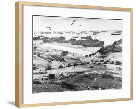 Allied Forces at a Beach in Normandy--Framed Art Print