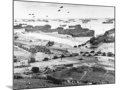 Allied Forces at a Beach in Normandy--Mounted Photographic Print