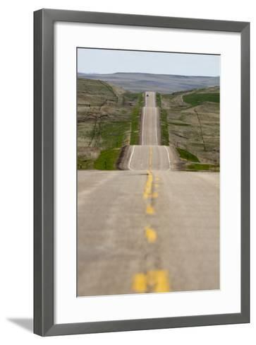 U.S. Highway 85 Through Rolling Prairie in South Dakota-Paul Souders-Framed Art Print