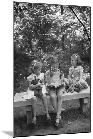 Girls Reading on Park Bench-Philip Gendreau-Mounted Photographic Print