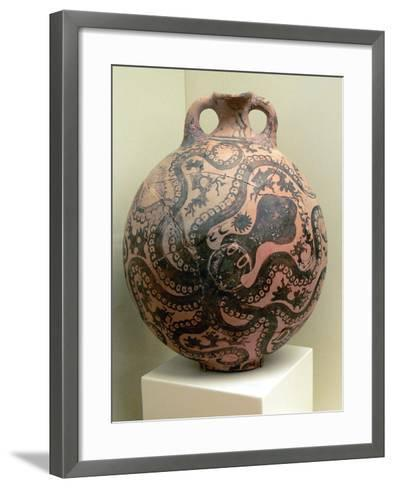 Minoan Clay Flask Decorated with Octopus--Framed Art Print