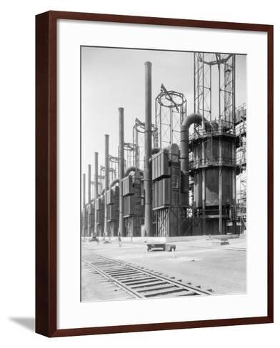 View of Cracking Stills at Oil Refinery--Framed Art Print