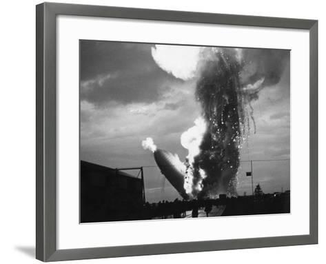 Zeppelin Hindenburg Burning in Lakehurst--Framed Art Print