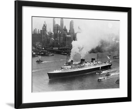 SS Normandie in New York Harbor--Framed Art Print