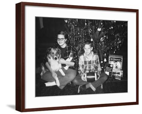 Brother and Sister Pose by the Christmas Tree, Ca. 1960--Framed Art Print