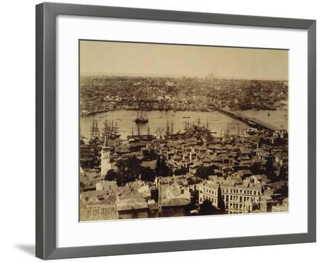 Aerial View of a Bridge over the Bosporus in Istanbul--Framed Art Print