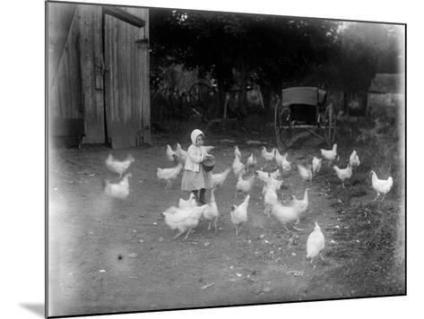 Girl Feeding Chickens--Mounted Photographic Print