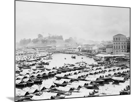 Aerial View of Boat Quai of Singapore--Mounted Photographic Print