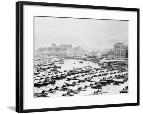 Aerial View of Boat Quai of Singapore--Framed Art Print