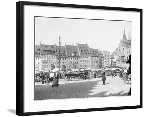 Market Place in Nuremberg--Framed Art Print