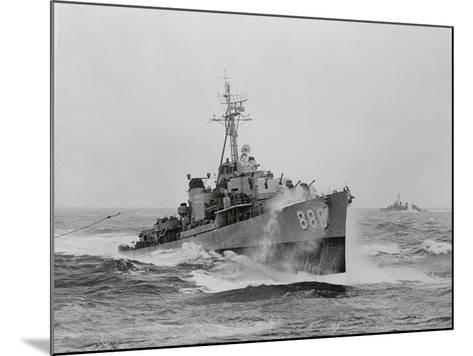 Destroyer Uss Orleck in Rough Seas--Mounted Photographic Print