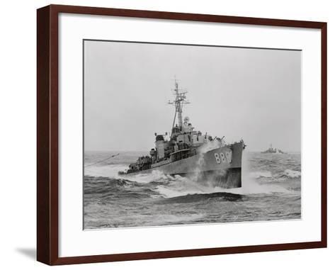 Destroyer Uss Orleck in Rough Seas--Framed Art Print