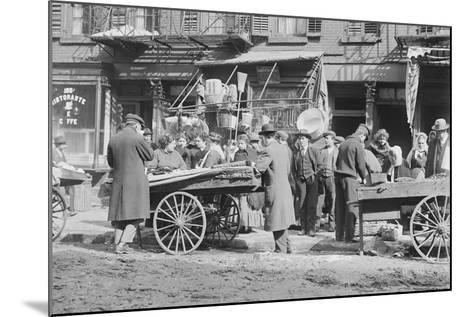 People Shopping around Push Cart--Mounted Photographic Print