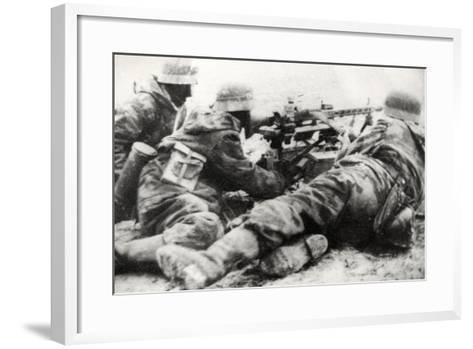 German Soldiers with MG42 General Purpose Machine Gun on a Tripod Mount--Framed Art Print