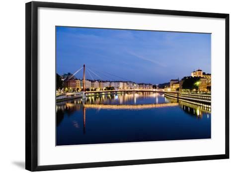 Palais Du Justice Footbridge Reflecting on the Saone-Massimo Borchi-Framed Art Print