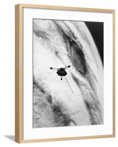 Pioneer Passing over Jupiter's Red Spot--Framed Art Print